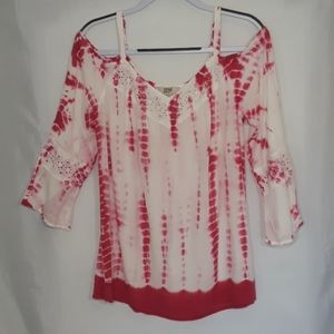 Vintage America Sz L Tie Dye Cold Shoulder Top
